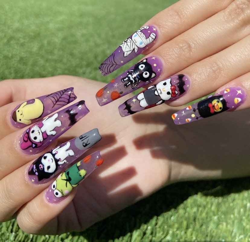 Candy hand painted halloween nail art